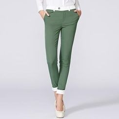 O.SA - Contrast-Trim Slim-Fit Cropped Pants