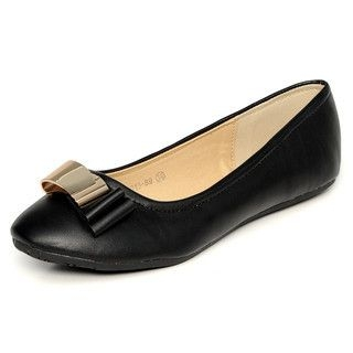 yeswalker - Metal Bow Faux Leather Flats