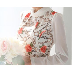Zyote - Long-Sleeve Floral  Chiffon Top