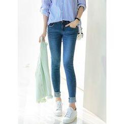 J-ANN - Cuff-Hem Washed Skinny Jeans