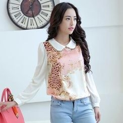 JVL - Long-Sleeve Printed Panel Chiffon Blouse