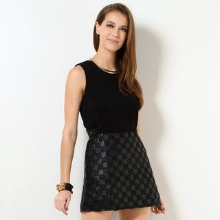 YesStyle Z - Textured Check Panel Sleeveless Dress