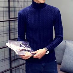 Best Gang - Turtleneck Cable-Knit Top