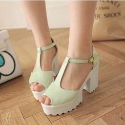Tomma - Platform Block Heel T-Strap Sandals