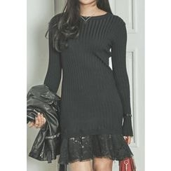 REDOPIN - Lace-Hem Ribbed Knit Dress