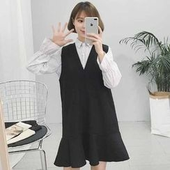 Rollis - Set: Ruffle Sleeve Blouse + Sleeveless V-Neck Woolen Dress