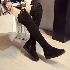 JY Shoes - Scallop Trim Over-the-Knee Boots