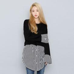 Envy Look - Mock Two-Piece Shirt-Trim Dress