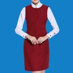 alamode - Short-Sleeve Blouse / Plain Skirt / Plain Vest