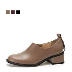 MODELSIS - Genuine Leather Kitten-Heel Loafers