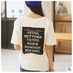 Sens Collection - Short-Sleeve Lettering-Print  T-Shirt