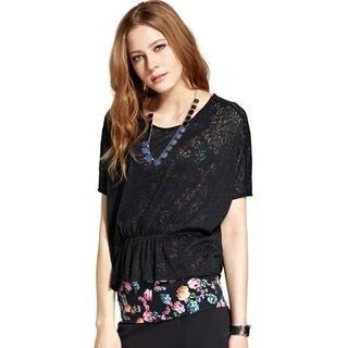 Moonbasa - Inset Floral Tank Top Lace Top