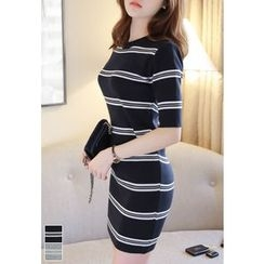 MyFiona - Crew-Neck Stripe Knit Mini Bodycon Dress