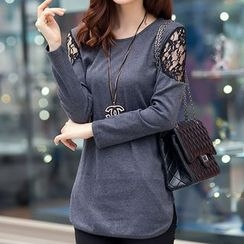 Sienne - Long-Sleeve Lace Panel Top