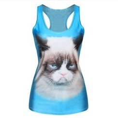 Omifa - Sleeveless Cat-Print Top