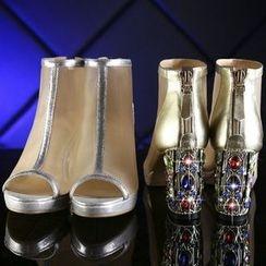 Kireina - Genuine Leather Mesh Chunky-Heel Sandals