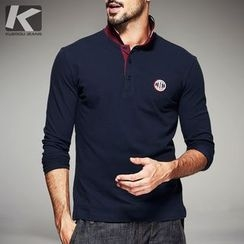 Quincy King - Long-Sleeve Color Block Polo Shirt