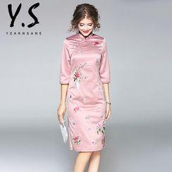 Y:Q - 绣花七分袖旗袍