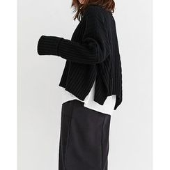 Someday, if - Turtle-Neck Batwing-Sleeve Rib-Knit Sweater