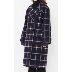 Someday, if - Double-Breasted Wool Blend Plaid Coat