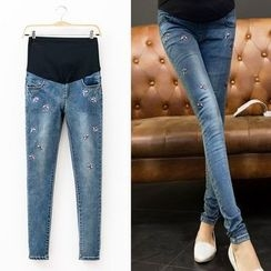 Mamaladies - Maternity Embroidered Skinny Jeans