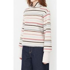 Someday, if - Mock-Neck Multicolor Striped Top