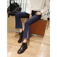 hellopeco - Slit-Hem Boots-Cut Jeans