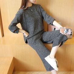 Autunno - Set: Melange Sweater + Cropped Pants