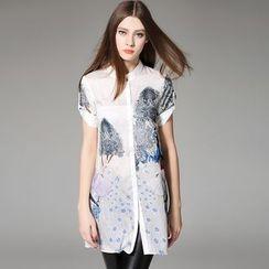 Y:Q - Tab-Sleeved Pleated-Back Printed Shirt Dress