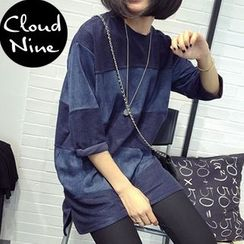 Cloud Nine - Faux Suede Panel Round-Neck T-Shirt