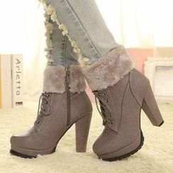 Mancienne - Furry-Trim High-Heel Short Boots