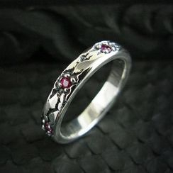 Sterlingworth - Ruby Engraved Sterling Silver Ring