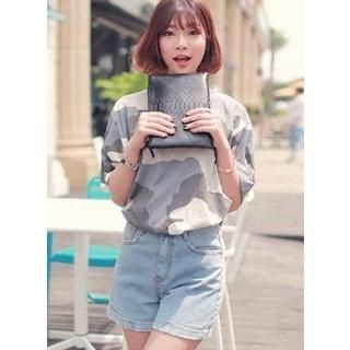 HOTPING - High-Waist Denim Shorts