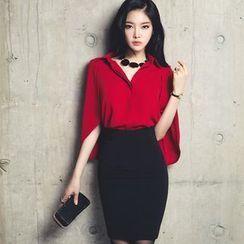 EFO - Set: Plain Blouse + Pencil-Cut Skirt