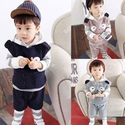 POMME - Kids Set: Striped Hoodie + Sweatpants + Fleece Vest + Shorts