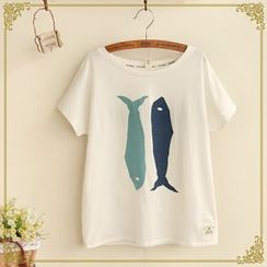 布衣天使 - 魚印花短袖T恤