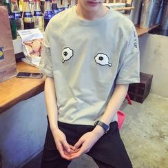 ZZP HOMME - Cartoon Eye Short-Sleeve T-shirt