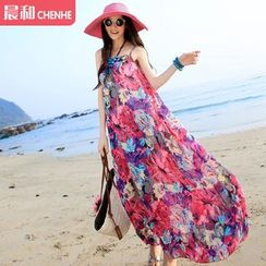 Morning Dew - Floral Print Chiffon Sundress