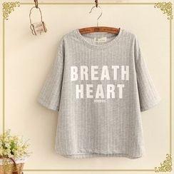 Fairyland - Letter Pinstriped Short-Sleeve T-shirt