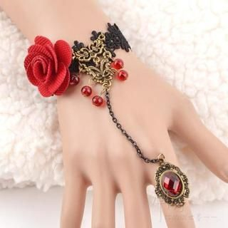 Trend Cool - Rose Accent Crochet Ring Bracelet