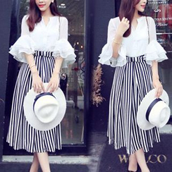 FURIFS - Set: Layered Bell-Sleeve Blouse + Stripe Midi Skirt