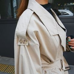 DABAGIRL - Epaulet Double-Breasted Trench Coat with Belt
