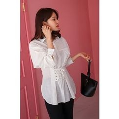 PPGIRL - Lace-Up Pocket-Detail Blouse