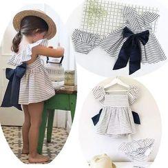 Debii - 套裝:童裝條紋連衣裙 + 內褲