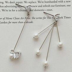 True Glam - 仿珍珠不對稱耳環