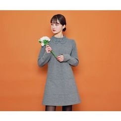 HOTPING - Embroidered-Collar Zip-Up Dress