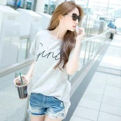 Tokyo Fashion - Short-Sleeve Lace-Back Lettering Top