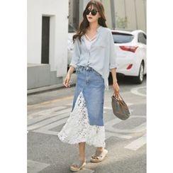 REDOPIN - Lace-Detail Denim Long Skirt