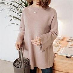 JOAMOM - Bell-Sleeve Slit-Detail Knit Top