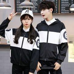 Azure - Couple Matching Hooded Color Block Jacket